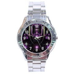 Fractal Purple Elements Violet Stainless Steel Analogue Watch