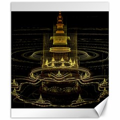 Fractal City Geometry Lights Night Canvas 20  X 24