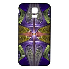 Fractal Blue Tin Pattern Texture Samsung Galaxy S5 Back Case (white)