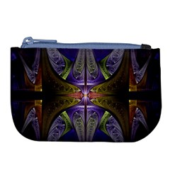 Fractal Blue Tin Pattern Texture Large Coin Purse