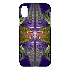 Fractal Blue Tin Pattern Texture Apple Iphone Xs Hardshell Case