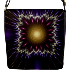 Fractal Rays Geometry Space Glow Flap Closure Messenger Bag (s)