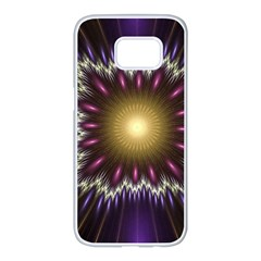 Fractal Rays Geometry Space Glow Samsung Galaxy S7 Edge White Seamless Case