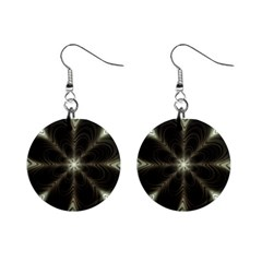 Fractal Silver Waves Texture Mini Button Earrings