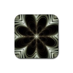 Fractal Silver Waves Texture Rubber Coaster (square)