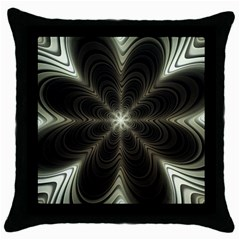 Fractal Silver Waves Texture Throw Pillow Case (black)