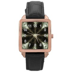 Fractal Silver Waves Texture Rose Gold Leather Watch