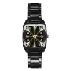 Fractal Silver Waves Texture Stainless Steel Barrel Watch