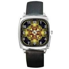 Fractal Yellow Gold Decorative Square Metal Watch