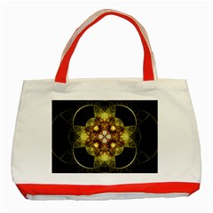 Fractal Yellow Gold Decorative Classic Tote Bag (red) by Wegoenart
