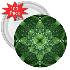 Fractal Green St Patrick S Day 3  Buttons (100 Pack)
