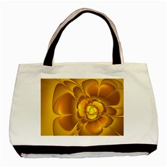 Fractal Yellow Flower Floral Basic Tote Bag