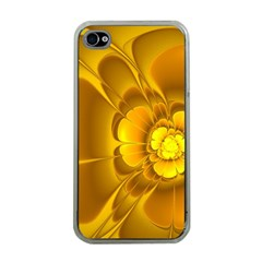 Fractal Yellow Flower Floral Apple Iphone 4 Case (clear)