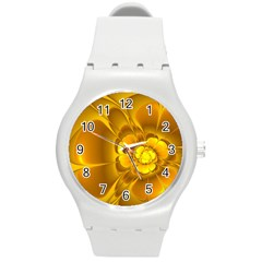 Fractal Yellow Flower Floral Round Plastic Sport Watch (m)
