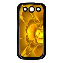 Fractal Yellow Flower Floral Samsung Galaxy S3 Back Case (black)