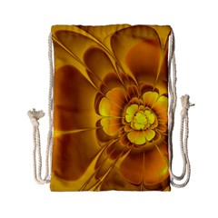 Fractal Yellow Flower Floral Drawstring Bag (small)