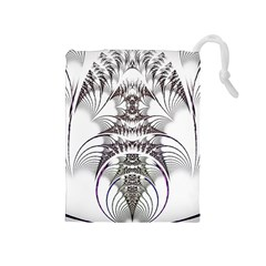 Fractal Delicate Intricate Drawstring Pouch (medium)