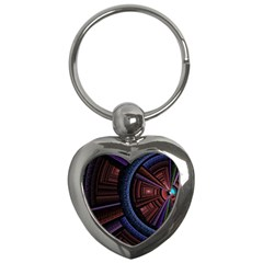 Fractal Circle Pattern Curve Key Chains (heart)