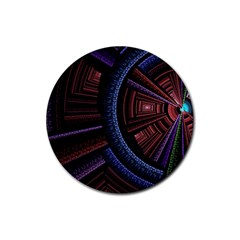 Fractal Circle Pattern Curve Rubber Coaster (round)