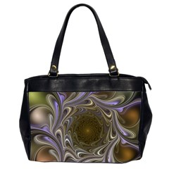 Fractal Waves Whirls Modern Oversize Office Handbag (2 Sides)