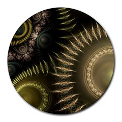 Fractal Steampunk Gears Fantasy Round Mousepads