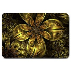 Fractal Floral Gold Golden Large Doormat