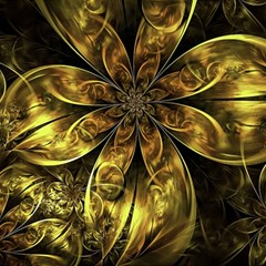 Fractal Floral Gold Golden Magic Photo Cube