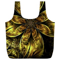 Fractal Floral Gold Golden Full Print Recycle Bag (xl)