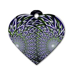 Fractal Mirror Flowers Dog Tag Heart (two Sides)