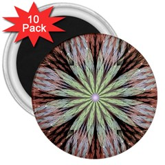 Fractal Floral Fantasy Flower 3  Magnets (10 Pack)