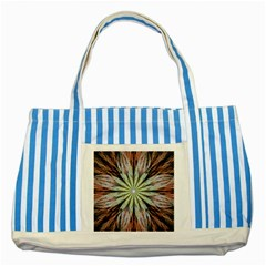 Fractal Floral Fantasy Flower Striped Blue Tote Bag by Wegoenart