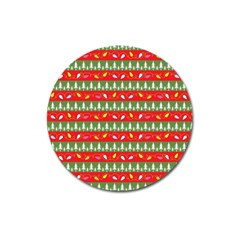 Christmas Papers Red And Green Magnet 3  (round)