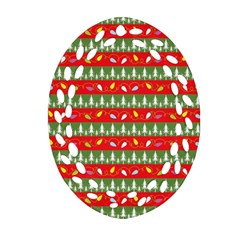 Christmas Papers Red And Green Ornament (oval Filigree) by Wegoenart
