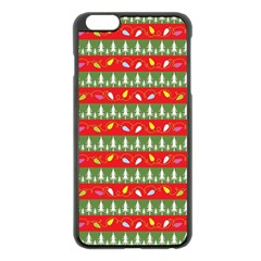 Christmas Papers Red And Green Apple Iphone 6 Plus/6s Plus Black Enamel Case