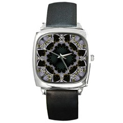 Fractal Aqua Silver Pattern Square Metal Watch