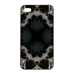 Fractal Aqua Silver Pattern Apple Iphone 4/4s Seamless Case (black)