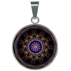 Fractal Vintage Colorful Decorative 25mm Round Necklace by Wegoenart