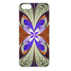 Fractal Splits Silver Gold Apple Iphone 5 Seamless Case (white)