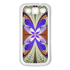 Fractal Splits Silver Gold Samsung Galaxy S3 Back Case (white)