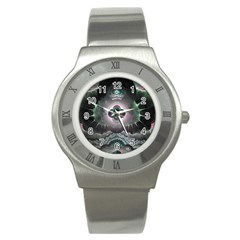 Fractal Pattern Texture Design Stainless Steel Watch