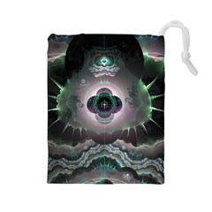 Fractal Pattern Texture Design Drawstring Pouch (large)