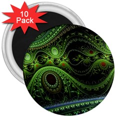 Fractal Green Gears Fantasy 3  Magnets (10 Pack)