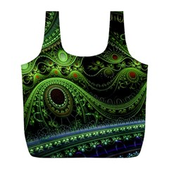Fractal Green Gears Fantasy Full Print Recycle Bag (l)