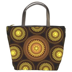 Fractal Yellow Gold Circles Bucket Bag by Wegoenart