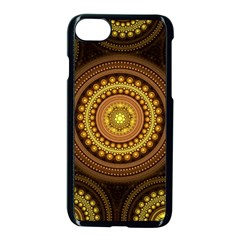 Fractal Yellow Gold Circles Apple Iphone 8 Seamless Case (black)