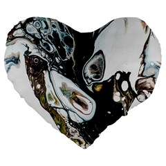 Abstract Structure Pattern Large 19  Premium Flano Heart Shape Cushions