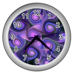 Abstract Pattern Fractal Wallpaper Wall Clock (silver)