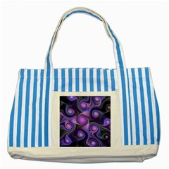 Abstract Pattern Fractal Wallpaper Striped Blue Tote Bag