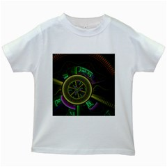 Fractal Threads Colorful Pattern Kids White T Shirts
