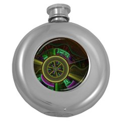 Fractal Threads Colorful Pattern Round Hip Flask (5 Oz)